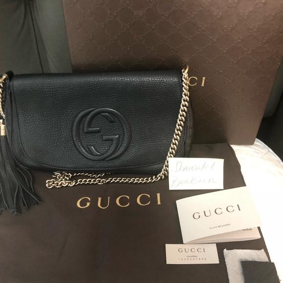 45821fa4a12 Gucci Handbags - Soho Crossbody   Shoulder chain bag Black leather